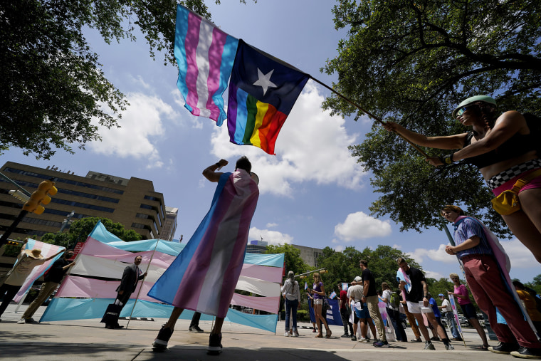 Demonstrators gather on the steps to the State Capitol in Austin on May 20 to protest transgender-related legislation being considered in the Legislature.