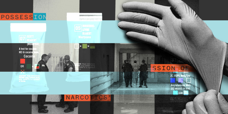 Photo illustration: Image of a hand wearing nitrile gloves over scenes from a correctional unit, two correctional officers standing next to the pharmacy and officers taking an inmate in handcuffs. Packets of drug testing kits are juxtaposed over the image