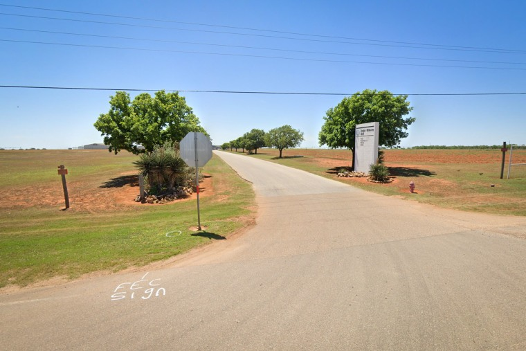 The entrance to to the Dolphe Briscoe Unit in Dilley, Texas.