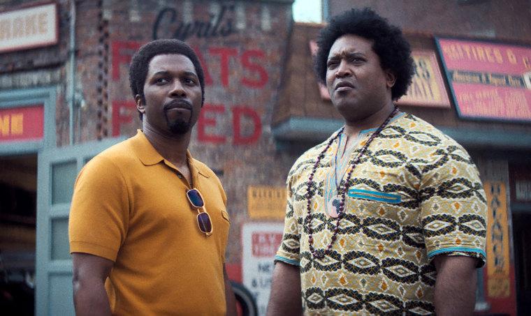 "Leslie Odom Jr. as Harold McBrayer and Germar Terrell Gardner as Cyril in ""The Many Saints of Newark."""