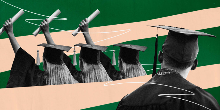 Illustration of white college graduates holding diplomas while a Black college graduate looks on from the distance.