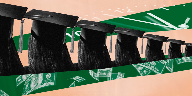 Illustration of college graduates buffered by the face of a clock and floating dollar bills.
