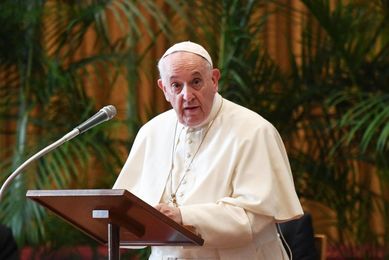 Pope Francis speaks in The Vatican on Oct. 4, 2021.