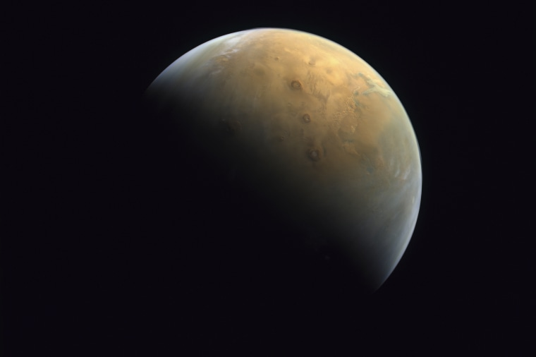 """Mars in an image captured on Feb. 10, 2021 by the United Arab Emirates' """"Hope"""" probe."""