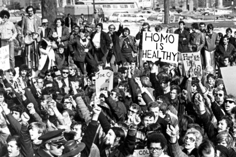 """Demonstrators gathered in Albany, N.Y., in 1971 to  demand gay rights and declare """"Homo Is Healthy."""""""