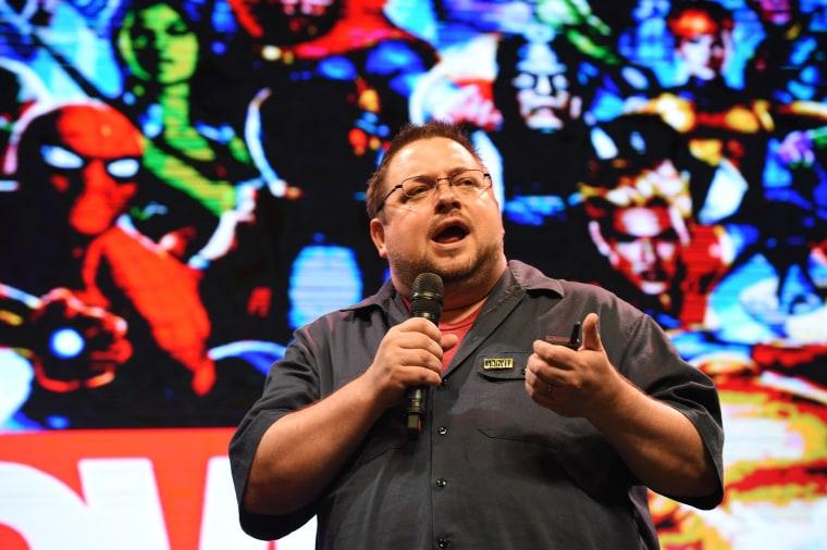 Marvel's editor-in-chief C.B. Cebulski speaks at a forum in Manila on Jan. 10, 2018.