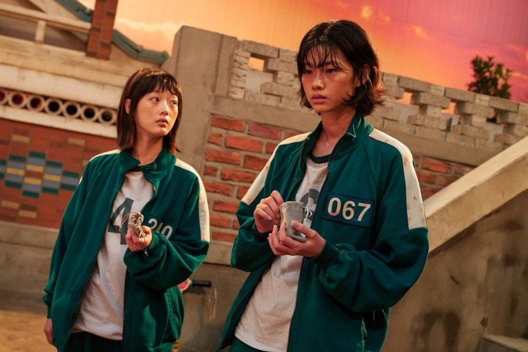 """Jung Ho-yeon, right, in """"Squid Game"""" on Netflix."""