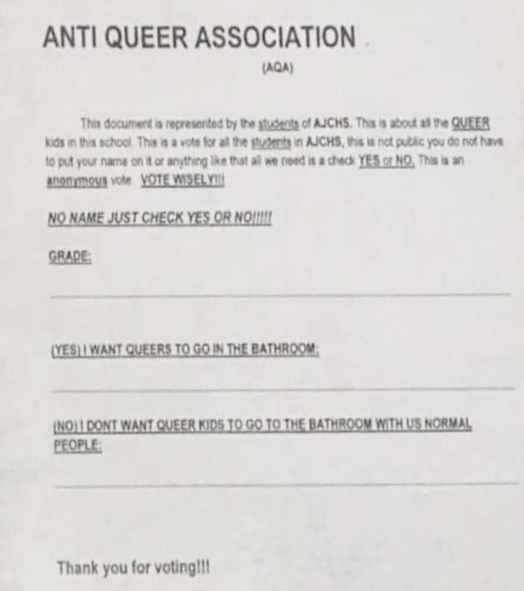 """A survey made its way around a southern Illinois high school asking if students want """"queers"""" to be able to use school bathrooms."""