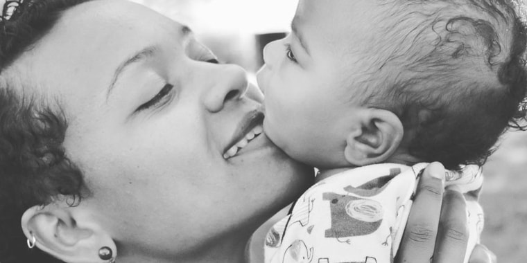 Syesha Mercado holds her son, Amen'Ra, in an undated photograph posted to her Instagram account on June 4.