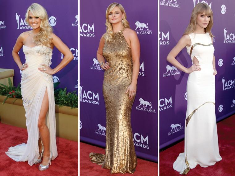 Carrie Underwood, left, Miranda Lambert, center, and Taylor Swift on Sunday night in Las Vegas.