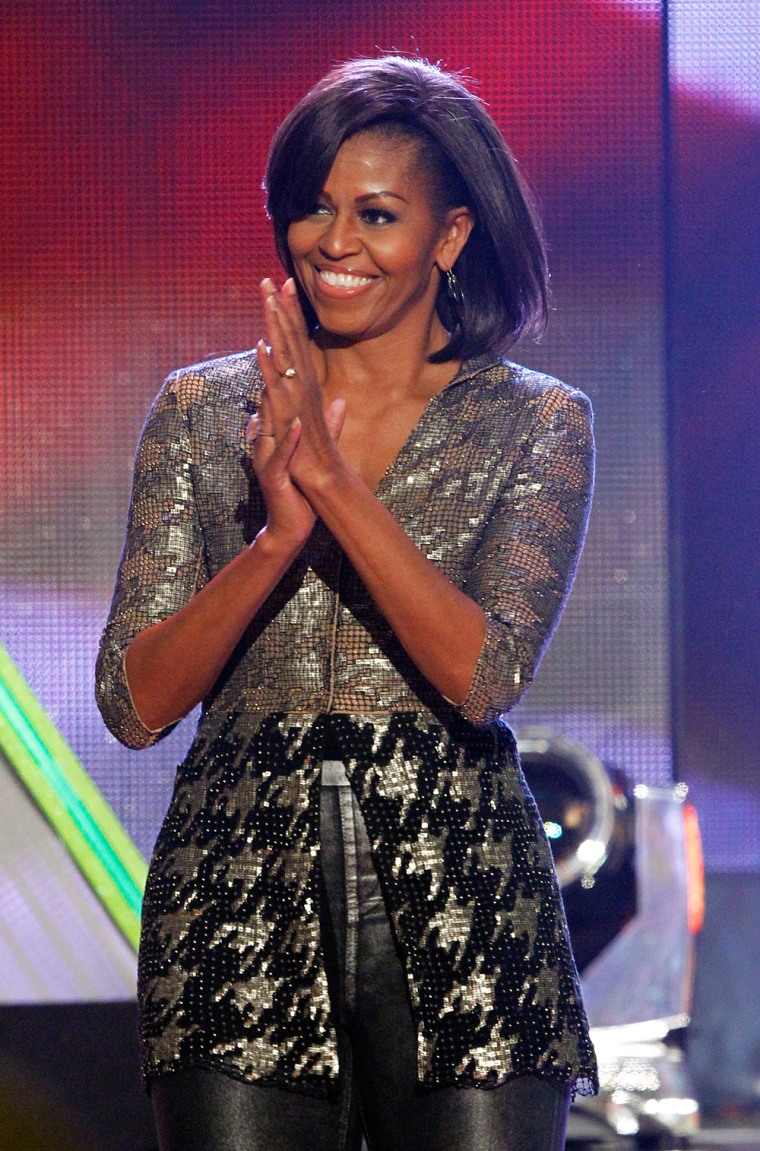 Not afraid of fashion: First lady Michelle Obama wore hot leather pants at Nickelodeon's 25th annual Kids' Choice Awards in Los Angeles, California on March 31.