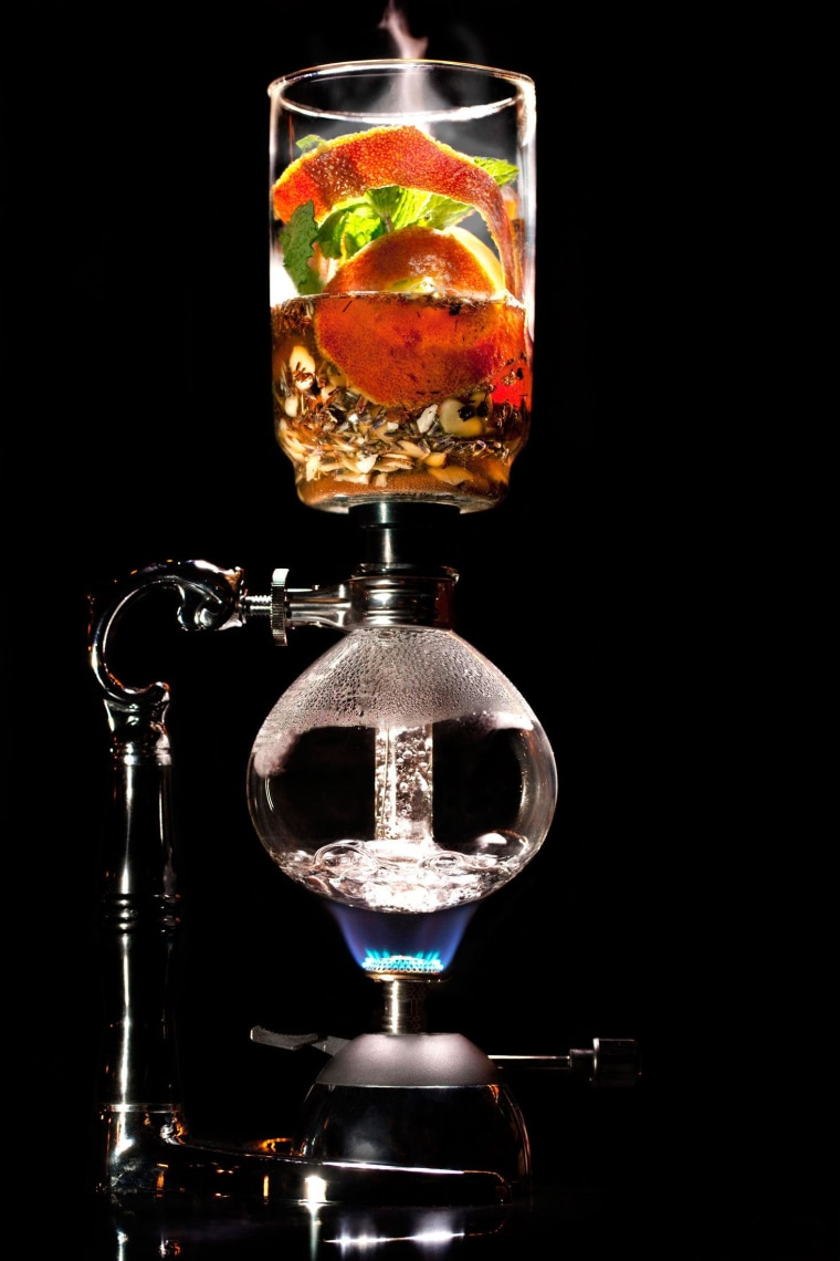 The double-chamber vacuum pot used to make the Rooibos cocktail at Aviary.