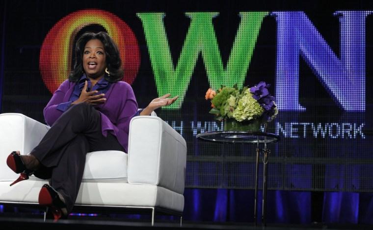 Oprah Winfrey promotes OWN last January in Pasadena, Calif.