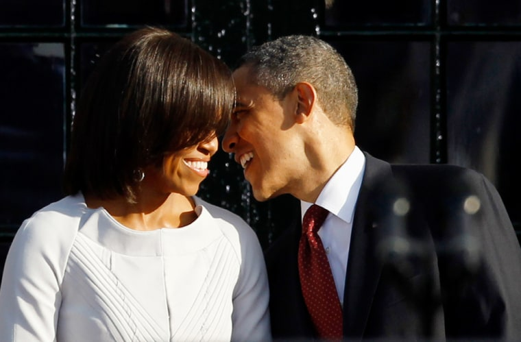 Pictured: President Barack Obama and first lady Michelle Obama. A new poll shows the president taking a lead over Mitt Romney among women.
