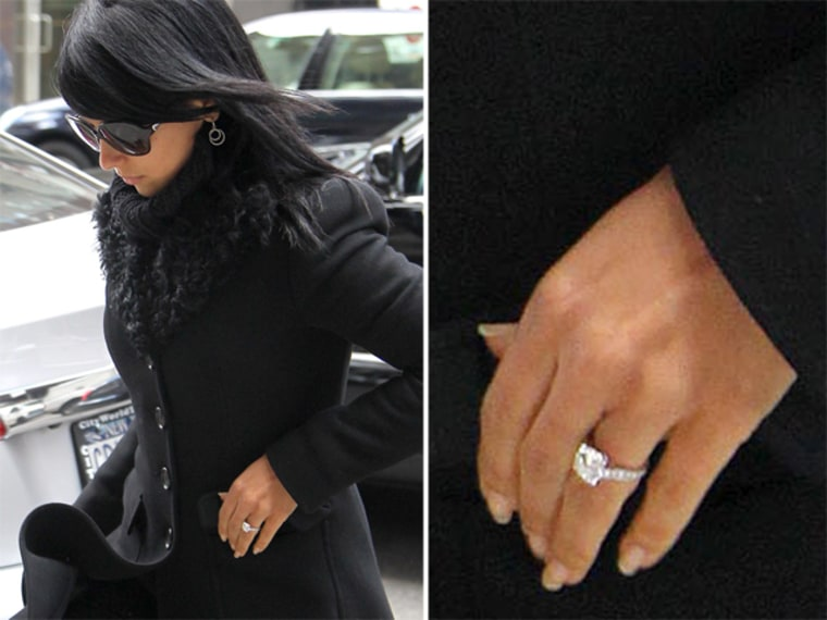 Alec Baldwin's fiancee Hilaria Thomas was spotted wearing her engagement ring around New York City on Apr. 2.