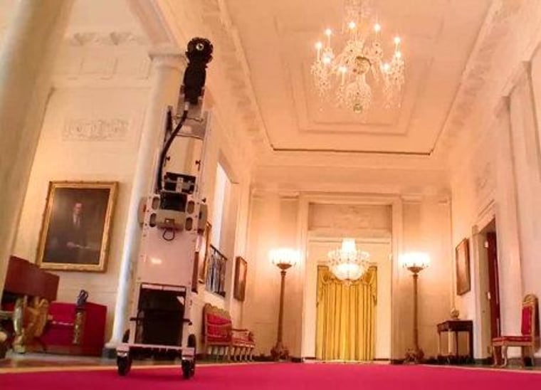 Google's camera gear, aboard a trolley, in the White House.