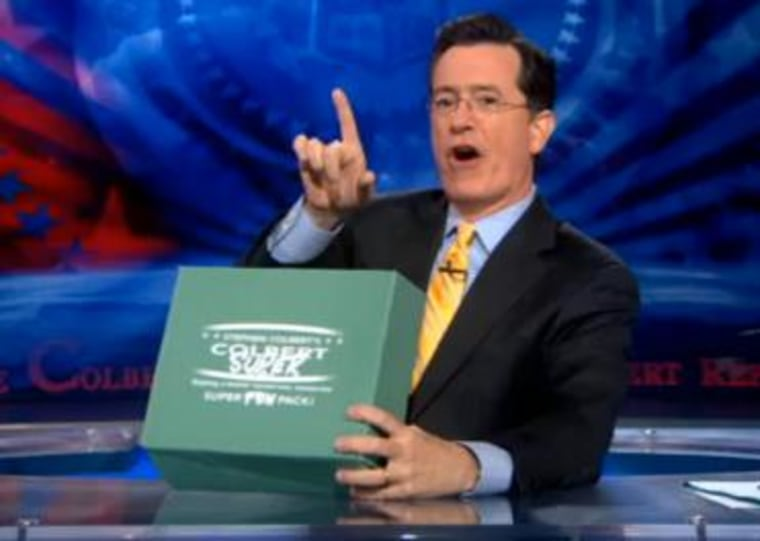"""Stephen Colbert unveils his Super PAC kit on \""""The Colbert Report.\"""""""