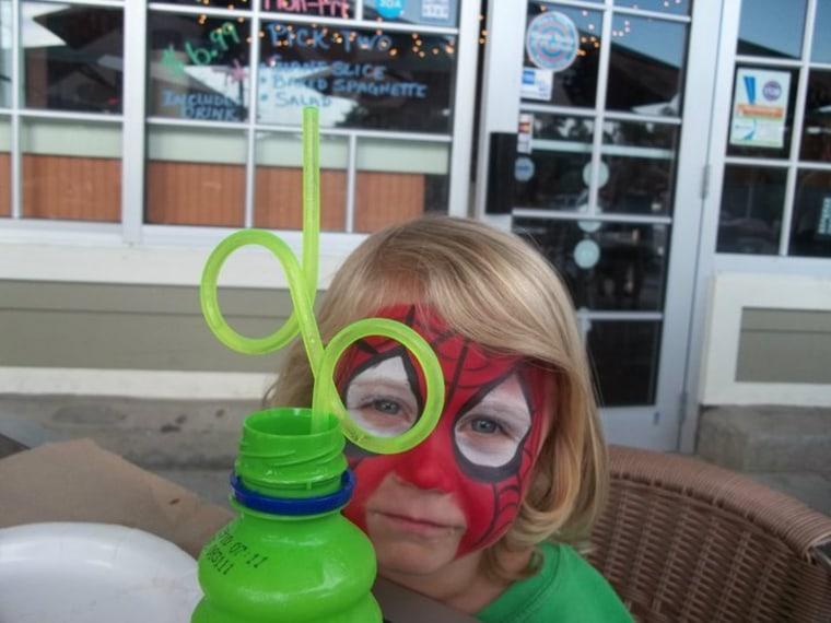 Jacob, 4, keeps his eye on the prize.