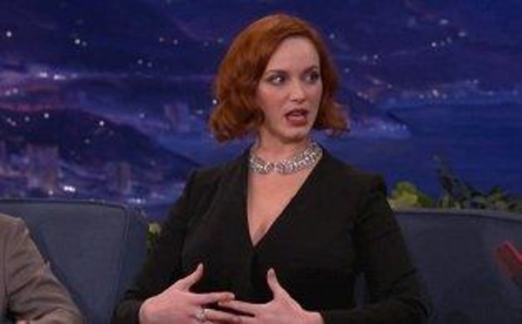 "\""Mad Men\"" star Christina Hendricks shared her sexy, on-screen secret on \""Conan\"" Thursday night."