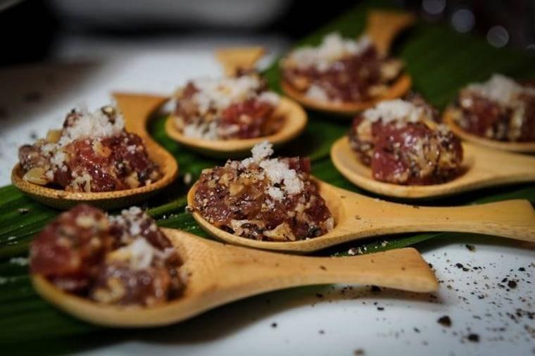 Kayne Raymond's fresh ahi tuna on sea urchin was inspired by a spearfishing experience.