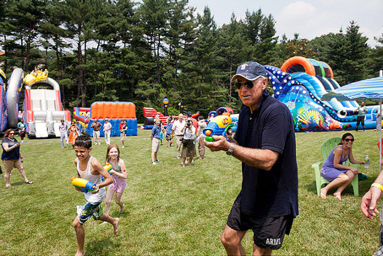 Vice President Joe Biden wields a water gun in this photo from his Twitter feed.