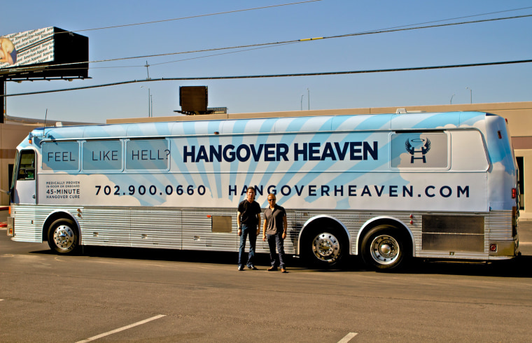 A board-certified anesthesiologist has created a mobile hangover treatment center to rid Vegas revelers of their day-after symptoms.