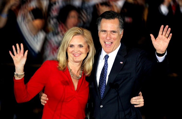 Mitt Romney and his wife Ann Romney greet supporters in Illinois in March.