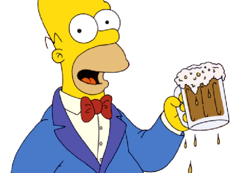 Homer Simpson throws back a Duff Beer