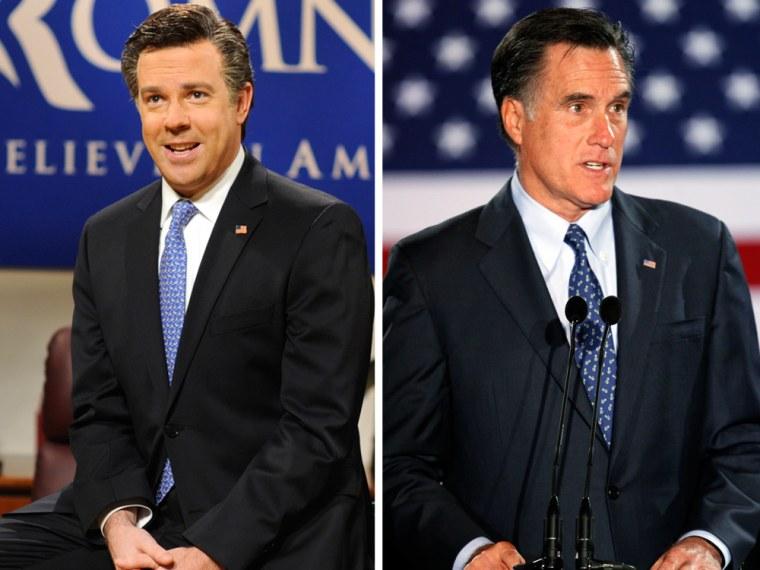 Jason Sudeikis as Mitt Romney on 'SNL'; Mitt Romney on the campaign trail.