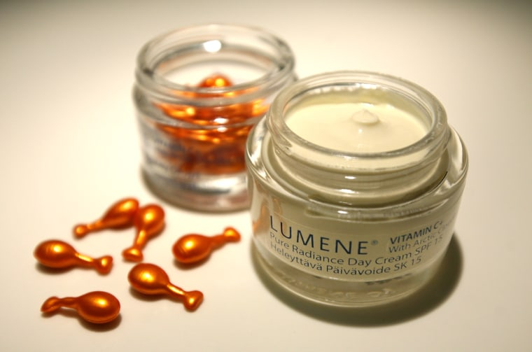 Dynamic duo: I use Lumene Vitamin C  Pure Radiance Beauty Drops along with Pure Radiance Day Cream. Both are affordable, available at local drugstores, and packed with crazy-sounding Finnish ingredients you never heard of!