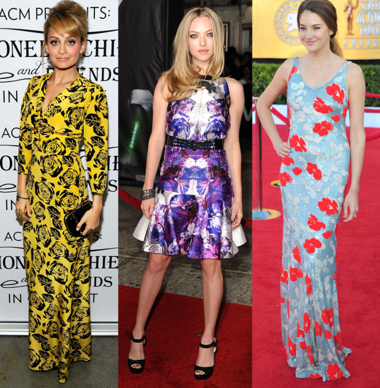 Young Hollywood is in on the floral trend: Nicole Richie at the Lionel Richie and Friends in Concert on April 2; Amanda Seyfried at the premiere of In Time on Oct. 20; The Descendants actress Shailene Woodley at the SAG Awards on Jan. 29.