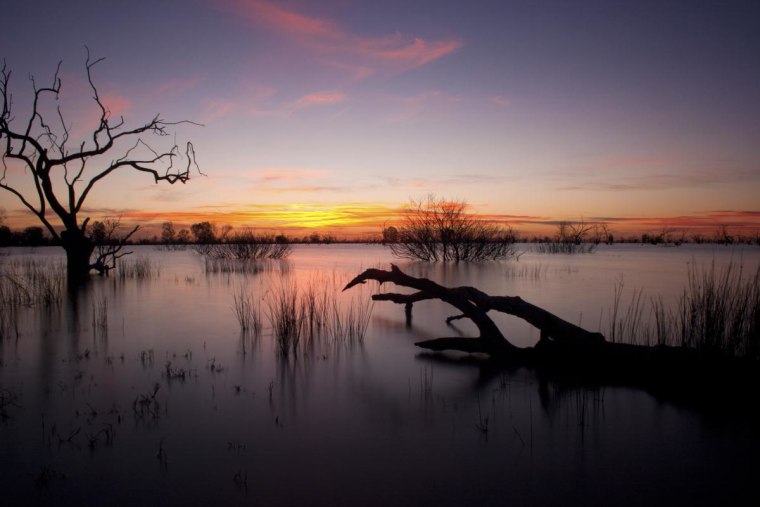 The sun sets over Lake Menindee, one of the largest of the Menindee Lakes, which are in the far west of New South Wales, Australia.