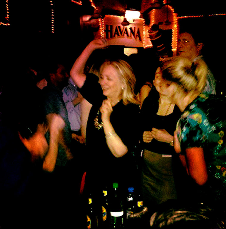 Boogie night: Hillary Clinton gets her groove on at Cafe Havana in Cartagena, Colombia on April 15.