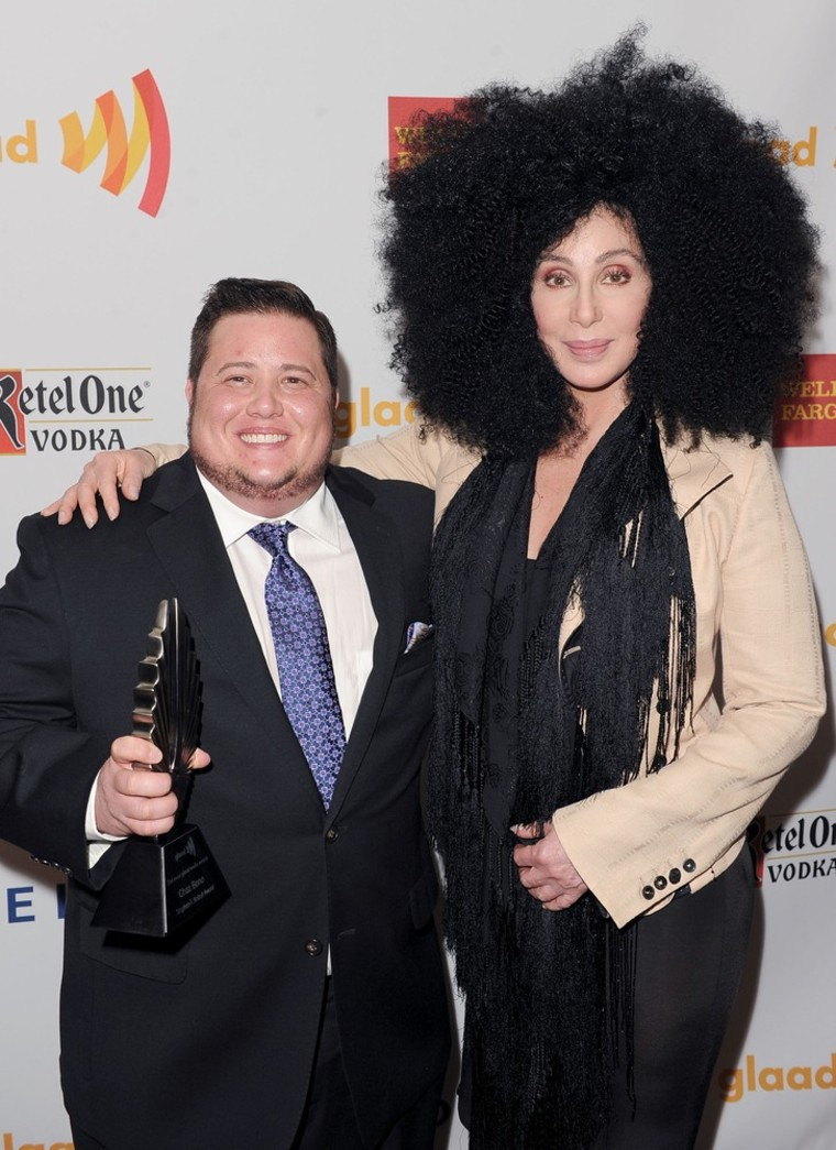 Chaz Bono and Cher backstage at the 23rd Annual GLAAD Media Awards at Westin Bonaventure Hotel in Los Angeles on Saturday, April 21.