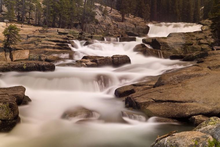 The Tuolumne River cascades over granite above the Glen Aulin High Camp in Yosemite National Park.