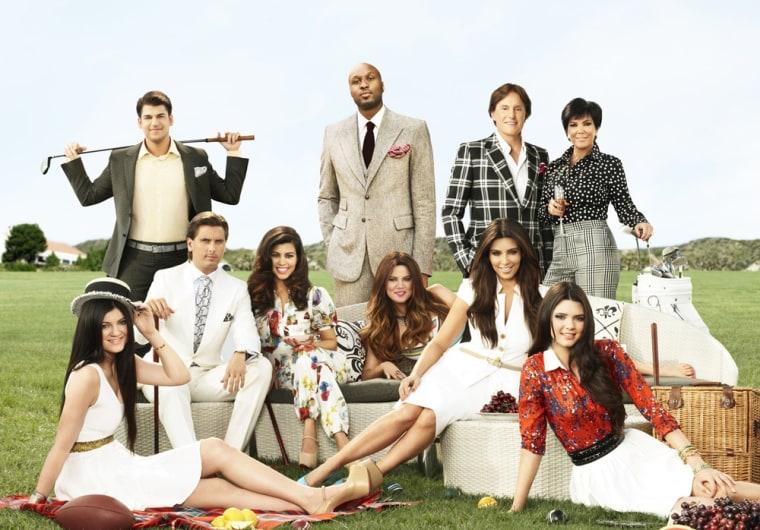 The Kardashian family, from left: Kylie Jenner, Rob Kardashian, Scott Disick, Kourtney Kardashian, Lamar Odom, Khloe Kardashian Odom, Kim Kardashian, Bruce Jenner, Kris Jenner and Kendall Jenner.