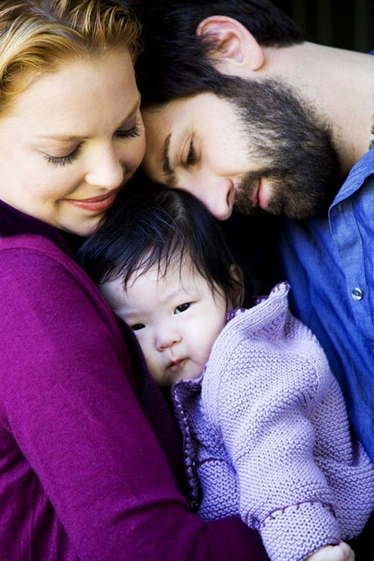 Katherine Heigl, Josh Kelley and their daughter Naleigh in 2009.