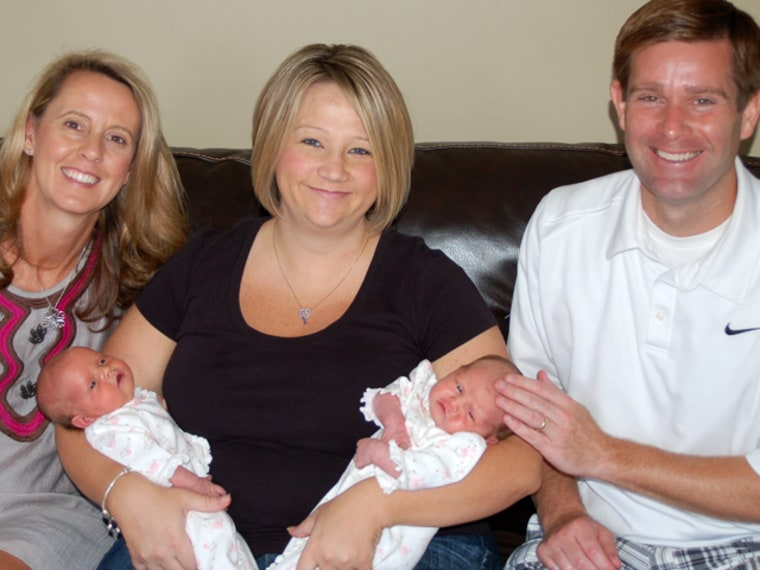 L-R: Carolyn Savage, surrogate  mother Jennifer Onash, Sean Savage and their infant twins