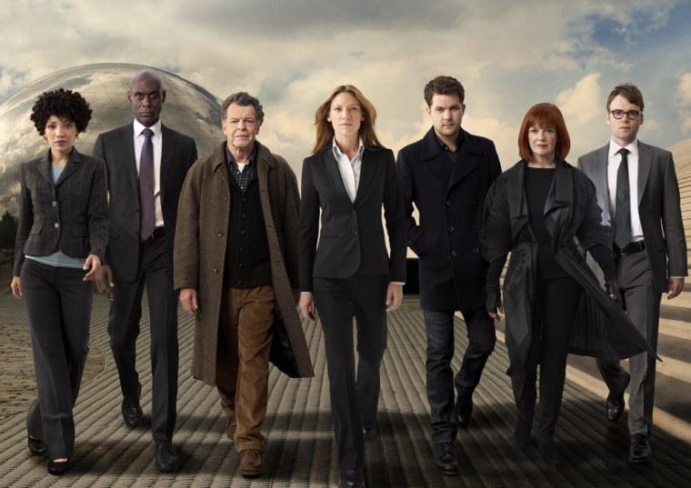 "The cast of \""Fringe,\"" from left to right: Jasika Nicole, Lance Reddick, John Noble, Anna Torv, Joshua Jackson, Blair Brown and Seth Gabel."