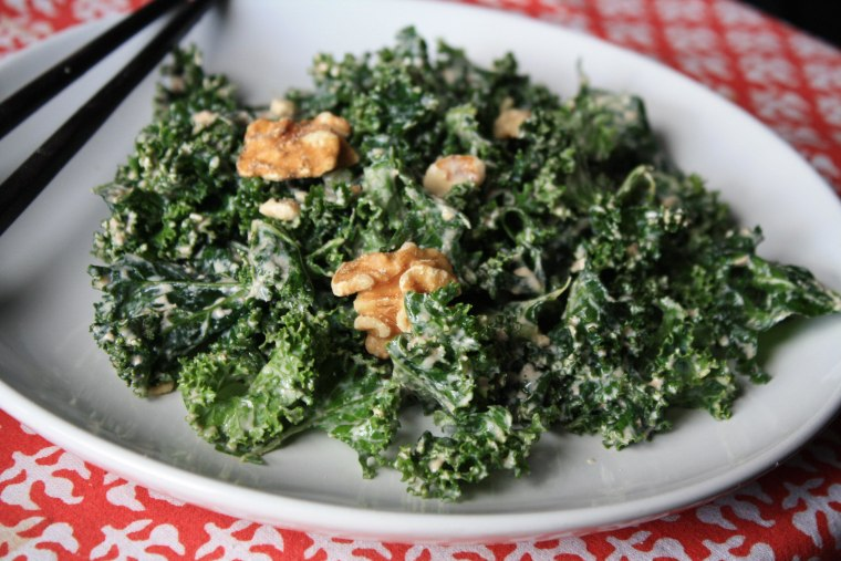 Making your own dressing can be a healthy alternative to store-bought vinaigrette. Try kale salad with delicious miso-walnut dressing.