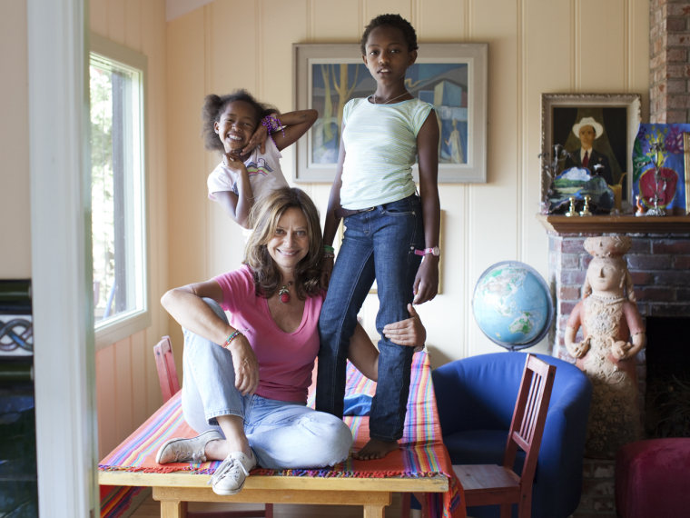 Happier times: Joyce Maynard with the two Ethiopian daughters, ages 6 and 11, she adopted in 2010. This spring, she announced that she had given them up.