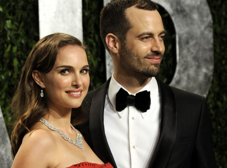 Natalie Portman and Benjamin Millepied at the Vanity Fair Oscar party on Sunday, Feb. 26, in West Hollywood, Calif.
