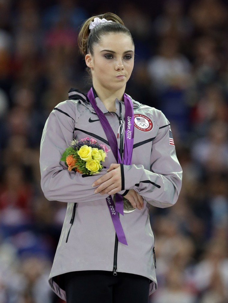 U.S. silver medallist gymnast McKayla Maroney makes a face during the podium ceremony for the artistic gymnastics women's vault finals at the 2012 Summer Olympics on Sunday in London.
