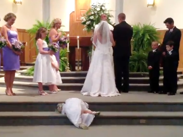 I now pronounce me... bored. Little flower girl prepares to take a nap in middle of ceremony. What flower girl/ring bearer hijinks have you witnessed?