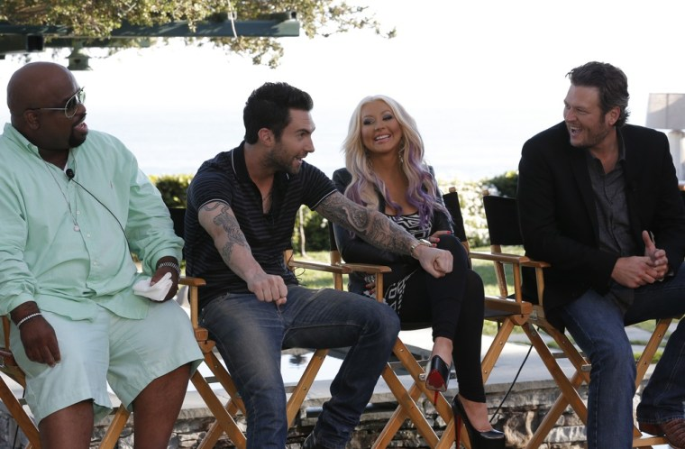 """Voice"" coaches Cee Lo Green, Adam Levine, Christina Aguilera and Blake Shelton at a press event held at producer Mark Burnett's Malibu home Sunday."