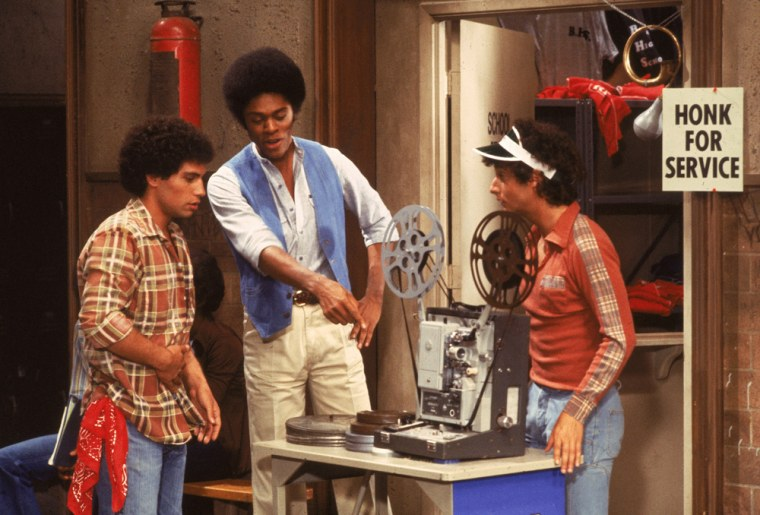 """Ron Palillo, right, with co-stars Robert Hegyes and Lawrence Hilton-Jacobs in an episode of """"Welcome Back Kotter,"""" circa 1977."""