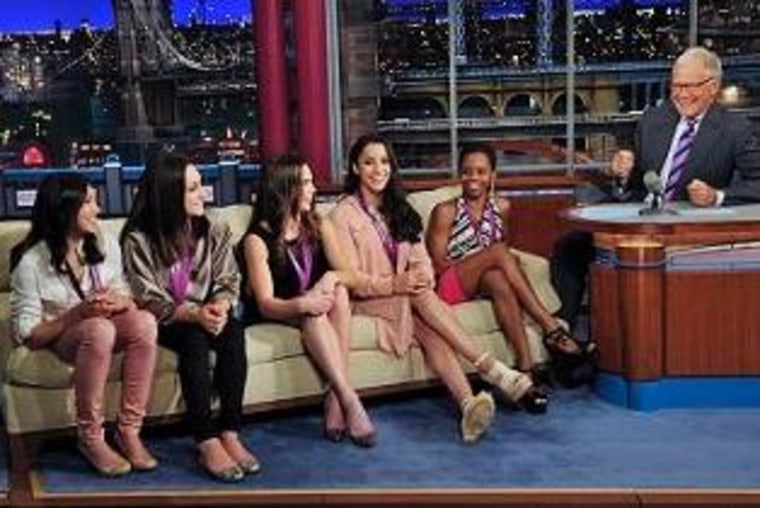 The Fierce Five, including Kyla Ross, Jordyn Weiber, McKayla Maroney, Aly Raisman and Gabby Douglas, share their post-Olympic thoughts with David Letterman.