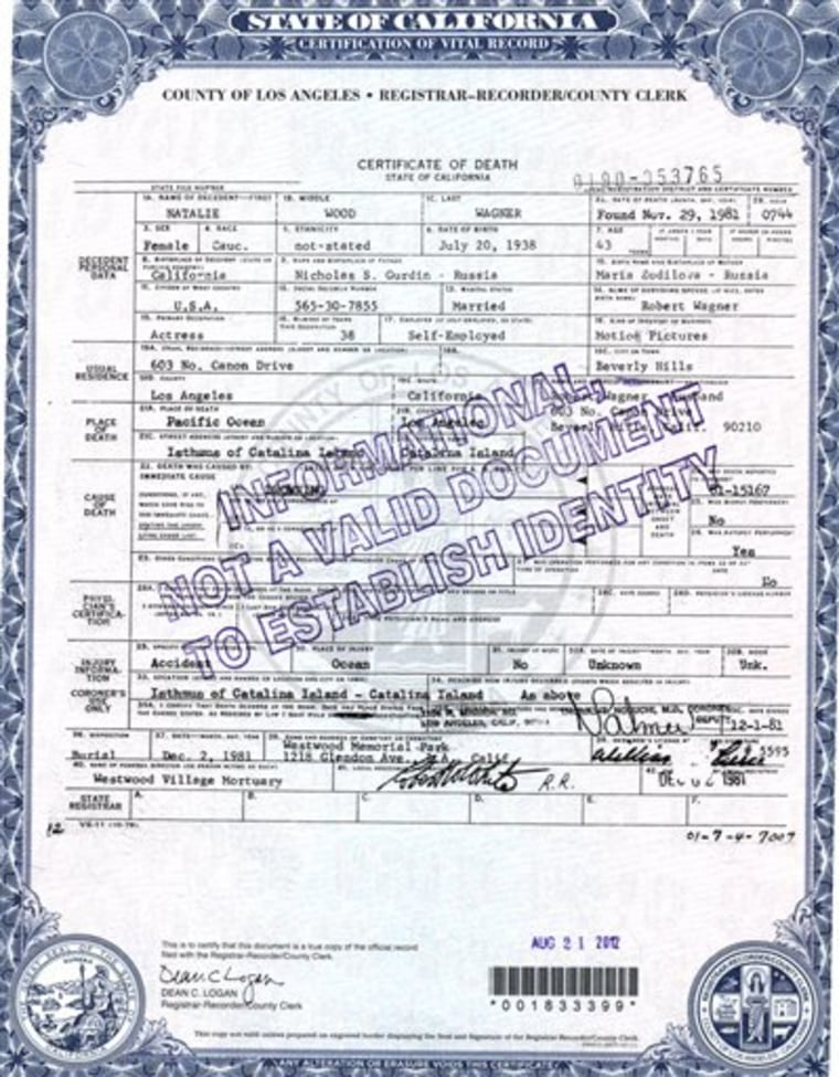 Natalie Wood\'s death certificate amended by coroner