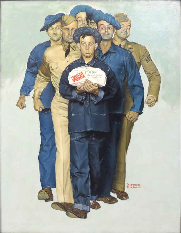 """""""Willie Gillis: Package from Home"""" by Norman Rockwell."""