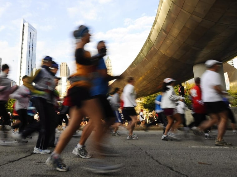Runners create a blur at the start of the 2009 Bank of America Chicago Marathon in Chicago in this file photo.